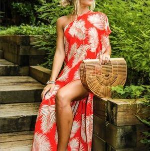 Tropical Palm One Shoulder Maxi Dress